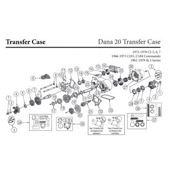 roulement arbre roue arriere Dana44 & B.T. Dana20, 48-79 Jeep CJ3A CJ3B CJ5 CJ6 & SJ