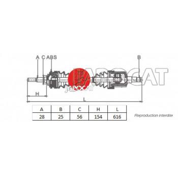 CARDAN AVANT Gauche Complet MITSUBISHI PAJERO - L200 - MONTERO